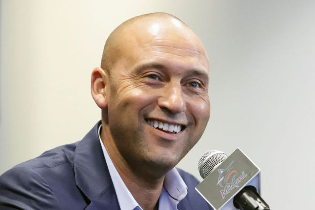 FILE - In this Sept. 20, 2019, file photo, Miami Marlins CEO Derek Jeter smiles as he speaks during a news conference in Miami. Derek Jeter is among 18 newcomers on the 2020 Hall of Fame ballot, announced Monday, Nov. 18, 2019, and is likely to be an overwhelming choice to join former New York Yankees teammate Mariano Rivera in Cooperstown after the reliever last year became the first unanimous pick by the Baseball Writers' Association of America. (AP Photo/Wilfredo Lee, File)