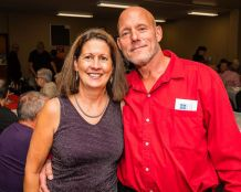 Kathy Beaulieu of Oakville and Edward Yanavich of Waterbury enjoy themselves at the Hopeville Church's annual fundraiser dinner and silent auction at the Hopeville Church in Waterbury on Wednesday. Bill Shettle Republican-American