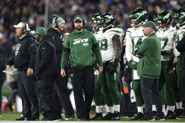 New York Jets head coach Adam Gase looks on during the first half of an NFL football game against the Baltimore Ravens, Thursday, Dec. 12, 2019, in Baltimore. (AP Photo/Gail Burton)