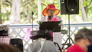 Keynote speaker State Senator Marilyn Moore (D-22nd District) addresses guests during a Mother's Day celebration held Saturday at Lakewood Park in Waterbury. The event was hosted by the Black Women United Committee. Jim Shannon Republican American