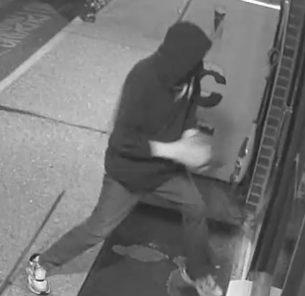Naugatuck police released this surveillance photo of a suspect in a burglary at Valley Liquors on Sunday. Contributed by Naugatuck police