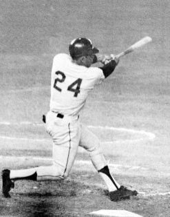 FILE - San Francisco Giants baseball player Willie Mays connects for his 600th lifetime home run in San Diego, in this Sept. 23, 1969, file photo. Just about everyone saw something in Mays. Mays turns 90 on Thursday, May 6, 2021. (AP Photo/File)