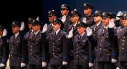 Recruits from the Waterbury Police Academy Class 2020-01 are sworn in by Waterbury Mayor Neil M. O'Leary during basic training graduation ceremonies Tuesday at the Palace Theater in Waterbury. Jim Shannon Republican American
