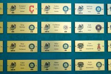 Names of baseball players who made it to the major leagues after playing for the Jackson Generals and the Jackson Diamond Jaxx teams are displayed in The Ballpark at Jackson, Tuesday, June 22, 2021, in Jackson, Tenn. When Major League Baseball stripped 40 teams of their affiliation in a drastic shakeup of the minor leagues this winter, Jackson lost the Jackson Generals, the Double-A affiliate of the Arizona Diamondbacks. (AP Photo/Mark Humphrey)