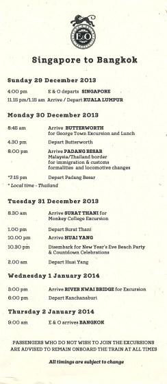 Eastern & Oriental Express - schedule