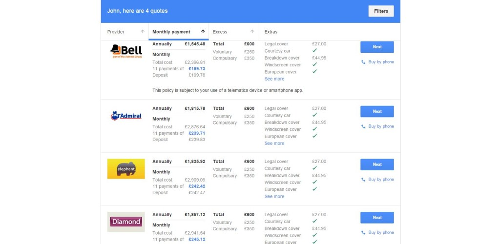 A screenshot of the Google Compare site. (From www.google.co.uk/compare)