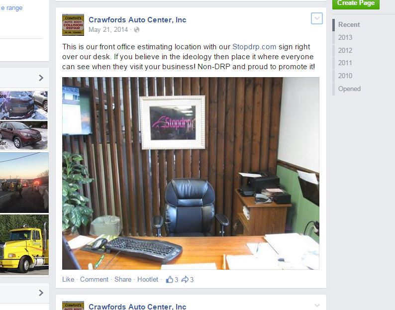 This screenshot from Crawford's Auto Center's Facebook page shows an anti-direct repair program sign at the business, which is suing insurers. (Screenshot from www.facebook.com)