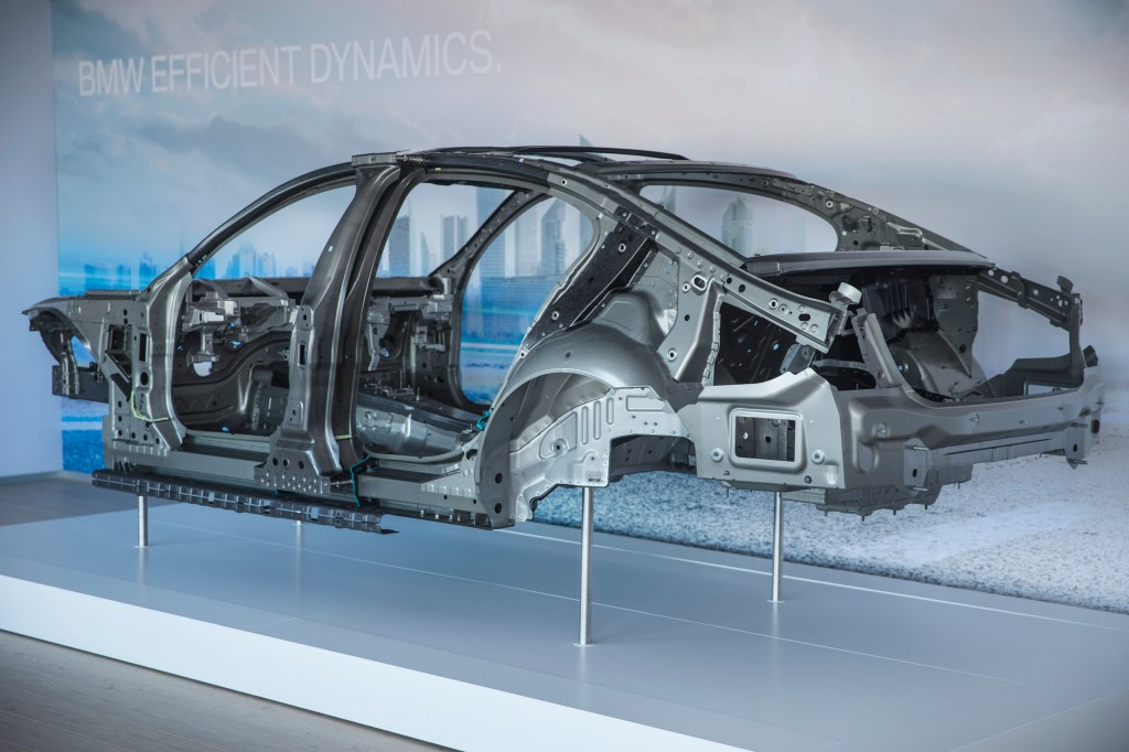 Another view of the body of a new BMW 7 series. The black portions appear to be carbon-fiber. (Provided by BMW)