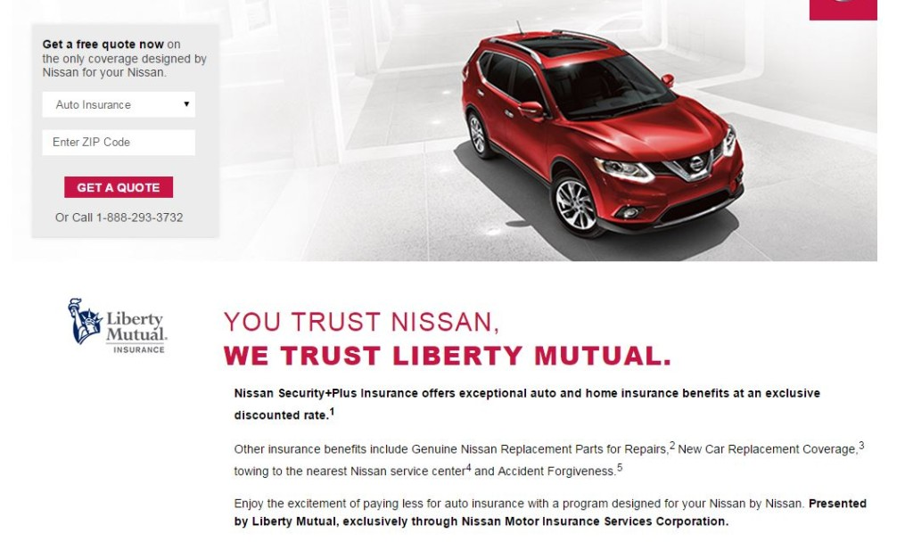 """The Nissan Owner's Portal redirects to a Liberty Mutual webpage describing the """"Nissan Security+Plus Insurance"""" program which provides """"exceptional auto and home insurance benefits at an exclusive discounted rate"""" through the insurer and the Nissan Motor Insurance Services Corporation. (Screenshot from welcome.libertymutual.com/nissan)"""