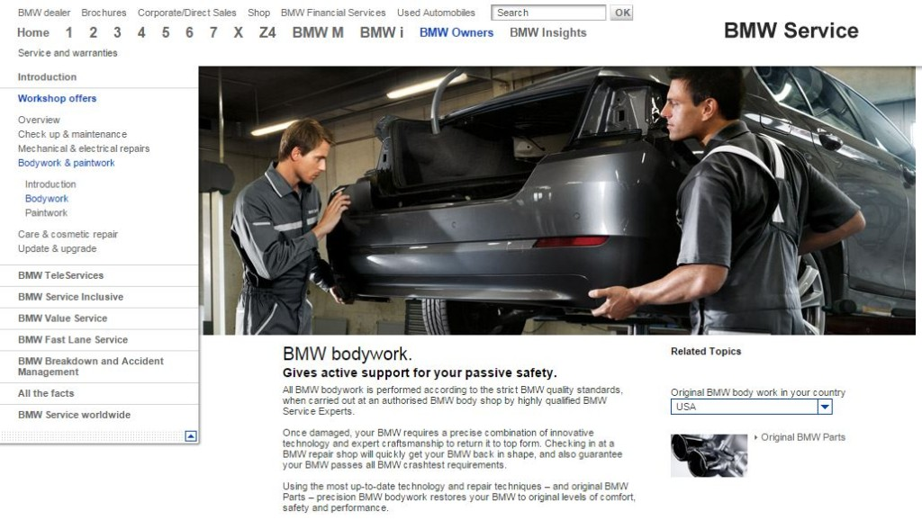 This screenshot from BMW's website shows an advertisement for its body shop network. (Screenshot from www.bmwusa.com)