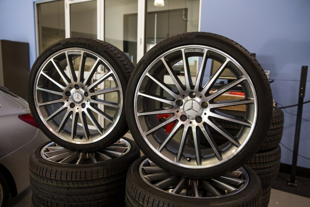 A phony Mercedes wheel, left, and a real one. (Provided by Genuine Is Best)
