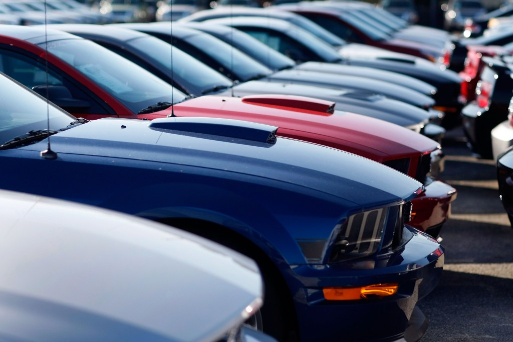 Ford Mustangs sit on a sales lot at a Miami dealership Dec. 2, 2008, in Miami during the recession. (Joe Raedle/Getty Images News/Thinkstock file)