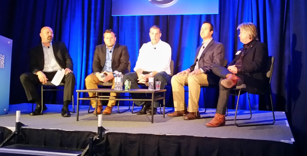 A panel of experts discusses scans and calibration at the 2015 SCRS OEM Technology Summit at SEMA. (John Huetter/Repairer Driven News)