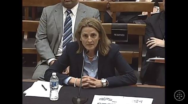 Intellectual property attorney Kelly Burris, seen here in a screenshot from subcommittee video, speaks Feb. 2, 2016, during the Courts, Intellectual Property, and the Internet Subcommittee of the House Judiciary Committee hearing on the PARTS Act. (Screenshot from House subcommittee video on YouTube)