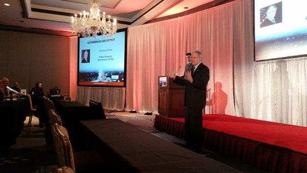 NHTSA Administrator Mark Rosekind, right, speaks during Megatrends USA on March 16, 2016. (John Huetter/Repairer Driven News)