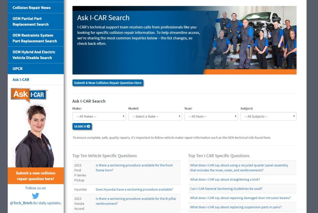 """The """"Ask I-CAR"""" website is shown. (Screenshot from www.i-car.com)"""