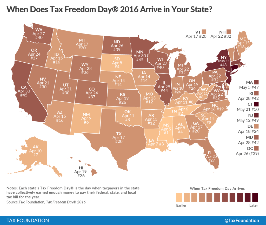 This Tax Foundation chart shows Tax Freedom Days by state in 2016. (Provided by Tax Foundation)