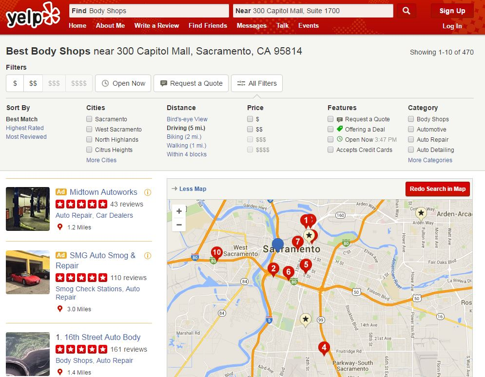 Here's a map of some of what Yelp displays as body shops within 5 miles of the California Insurance Department's Sacramento office. (Screenshot from www.yelp.com)