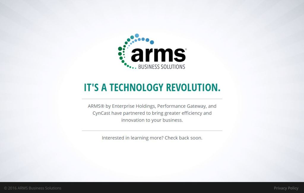 """The ARMS Business Solutions """"coming soon"""" home screen. (Screenshot of www.armsbusinesssolutions.com)"""