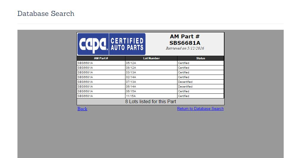 This screenshot from CAPA's database indicates the decertification of two Auto Power Subaru radiator support lots. (Screenshot from www.capacertified.org)