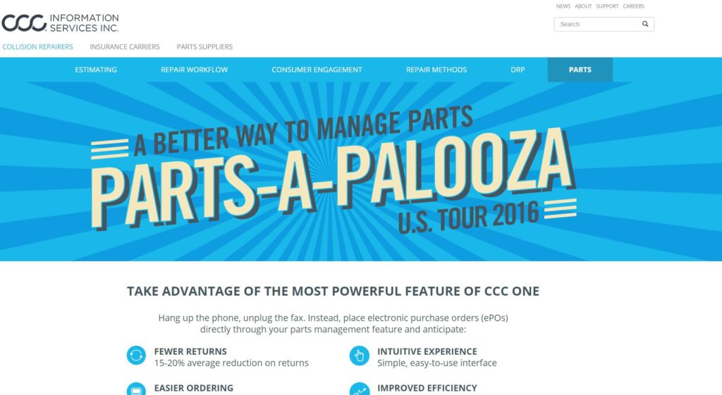 """CCC hypes its TRUE Parts Network in this screen promoting its """"Parts-A-Palooza U.S. Tour 2016."""" (Screenshot from www.cccis.com)"""
