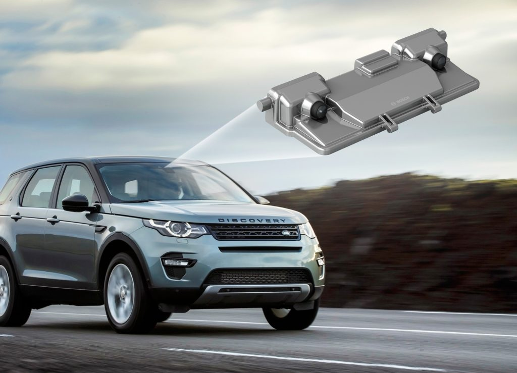 A stereo video camera from Bosch used for autobraking is shown in this illustration. (Provided by Bosch via Thatcham)