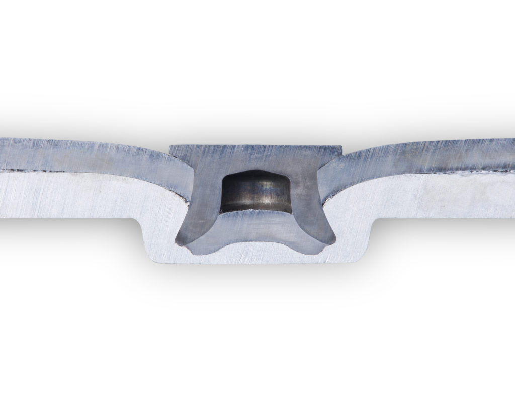 A self-piercing rivet joins aluminum to high-strength steel. Stanley calls the joining watertight, a useful means of warding off galvanic corrosion from dissimilar metals. (Provided by Stanley)