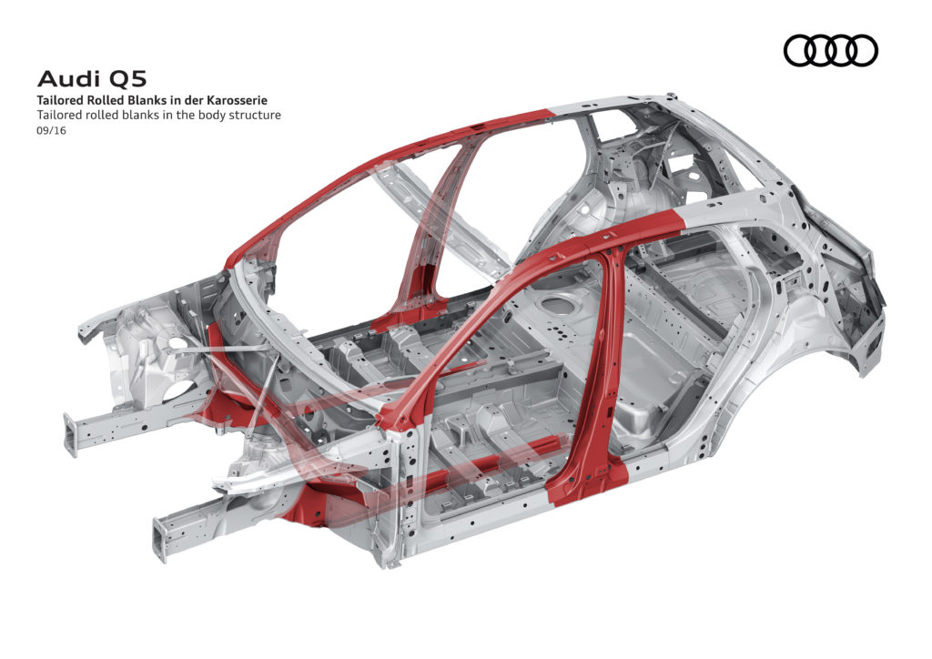 The second-generation Audi Q5, on sale in 2017, is larger but lighter, losing up to nearly 200 pounds by using higher-strength steel, like these tailored rolled blanks, and aluminum. (Provided by Audi)