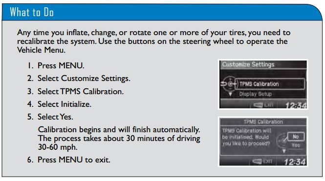 "For example, Honda tells a mere owner of a 2014 Civic -- not even an automotive professional -- he or she must drive the car for at least a half-hour between 30-60 mph to calibrate the tire pressure monitoring sensors every time you "" inflate, change, or rotate one or more of your tires."" (Provided by Honda)"