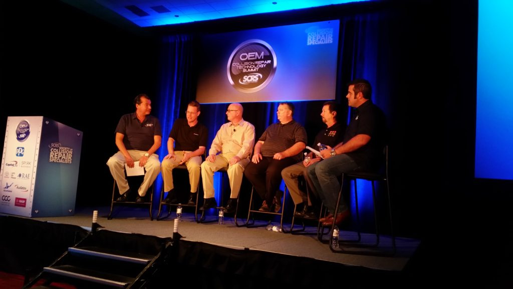 From left, Gary Wano of G.W. and Sons, Shawn Hart of Audi, Mike Kukavica of Porsche, Rick Miller of Jaguar Land Rover, James Meyer of Toyota and Barry Dorn of Dorn's Body and Paint participate in an OEM trainer forum on Nov. 3, 2016, at SEMA. (John Huetter/Repairer Driven News)