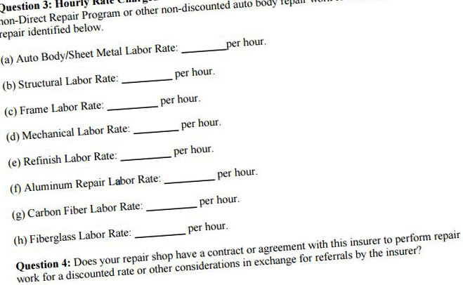 A California Department of Insurance sample version of a collision repair labor rate survey. (Provided by California Department of Insurance)
