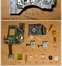toshiba phr 803t hd dvd dvd cd optical pickup exploded view with annotation  [ 817 x 1600 Pixel ]