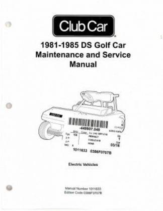 1981-1985 Club Car DS Golf Car Maintenance Service Manual