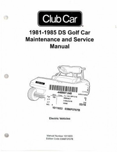 1981-1985 Club Car DS Golf Car Maintenance Service Manual