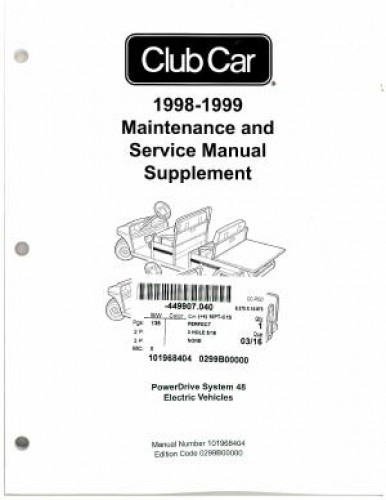 1998-1999 Club Car Power Drive System 48 Maintenance