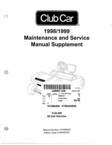 1998-1999 Club Car V-Glide 36 Volt Maintenance And Service