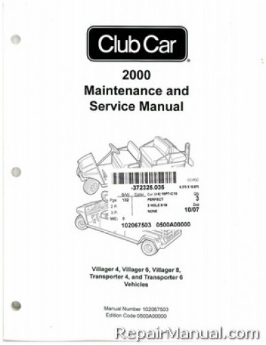 2000 Club Car Transportation Service Manual