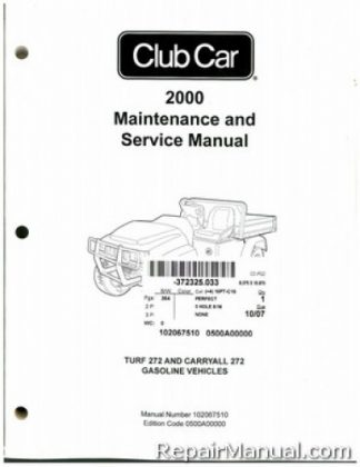 2000 Club Car Turf/Carryall 272 Golf Cart Service Manual