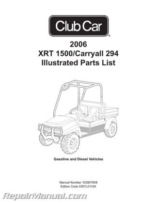 Harley Davidson Electric Golf Cart Utilicar Parts Manual