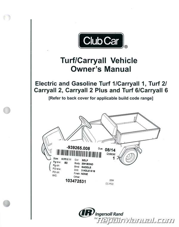 Ingersoll Rand Golf Cart Wiring Diagram Club Car Turf Carryall Owners Manual