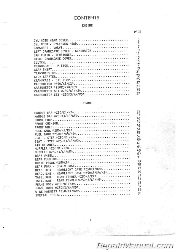1968-1974 Honda Z50A Motorcycle Parts Manual