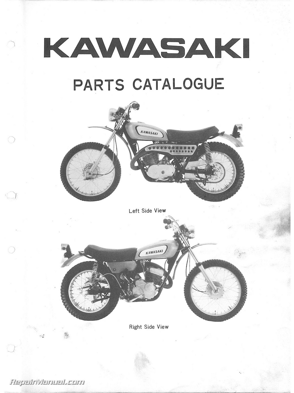 1970-1971 Kawasaki 350 F5 F5A Bighorn Motorcycle Parts Manual