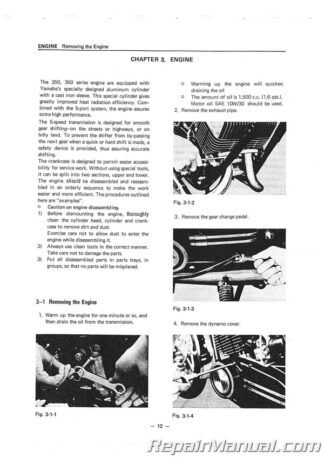 1972-1975 Yamaha R5C DS7 RD250 RD350 Motorcycle Service Manual