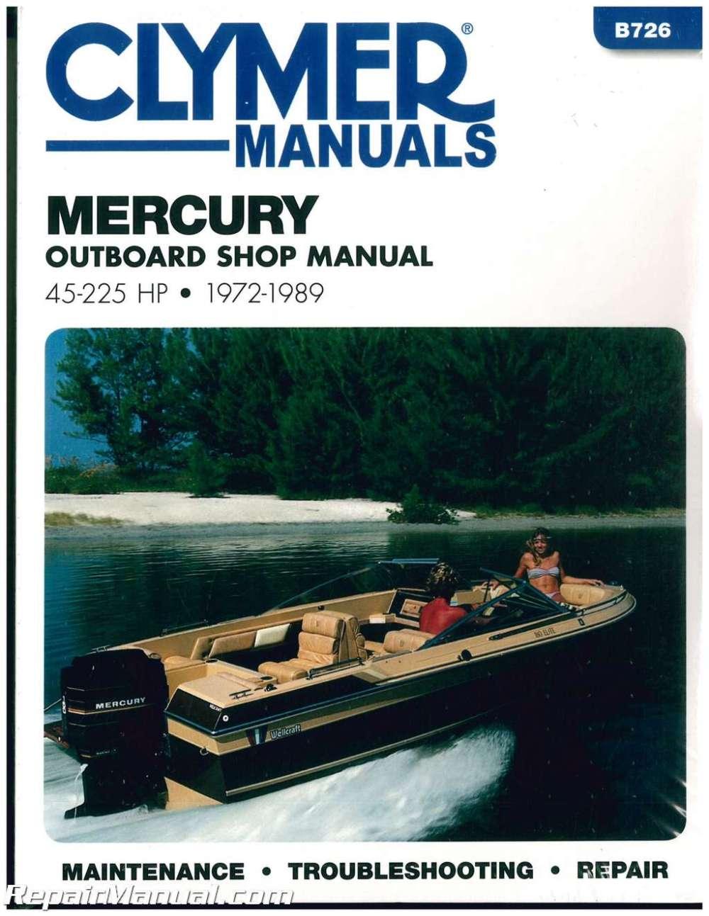 medium resolution of 1972 1989 mercury 45 225 hp clymer outboard boat engine repair manual