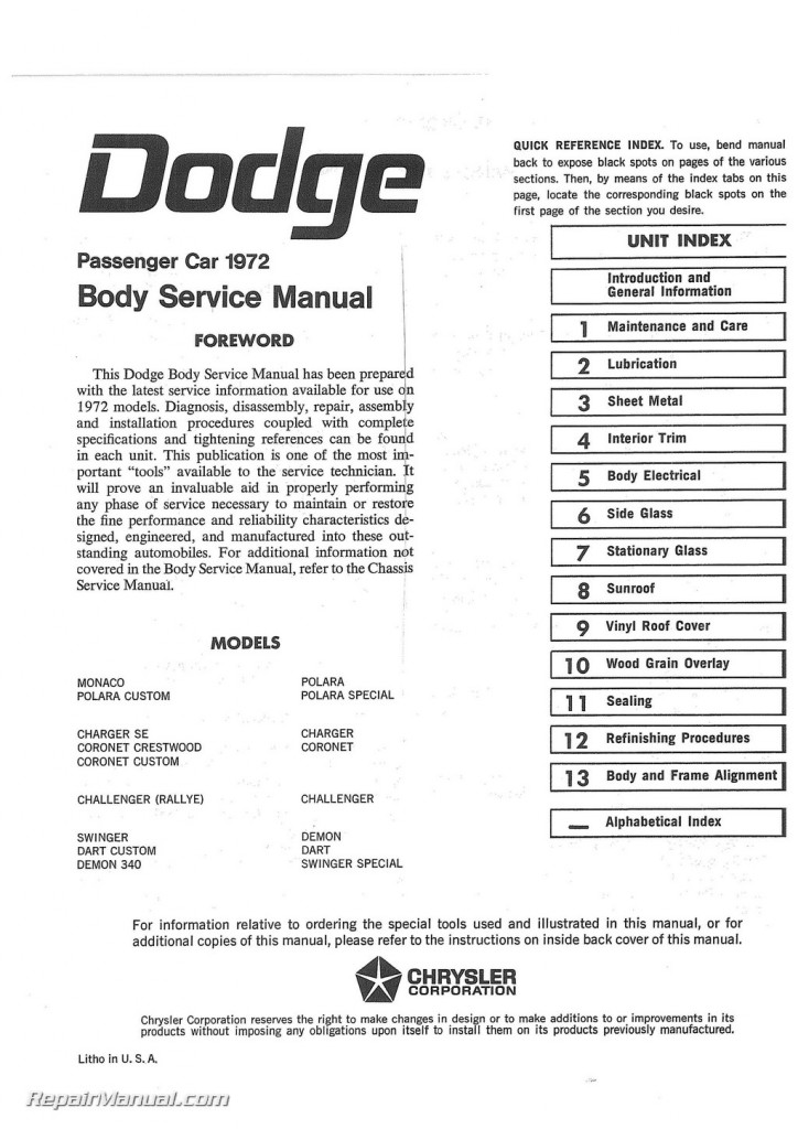 1972 Dodge Challenger Dart Charger Coronet Polara Monaco