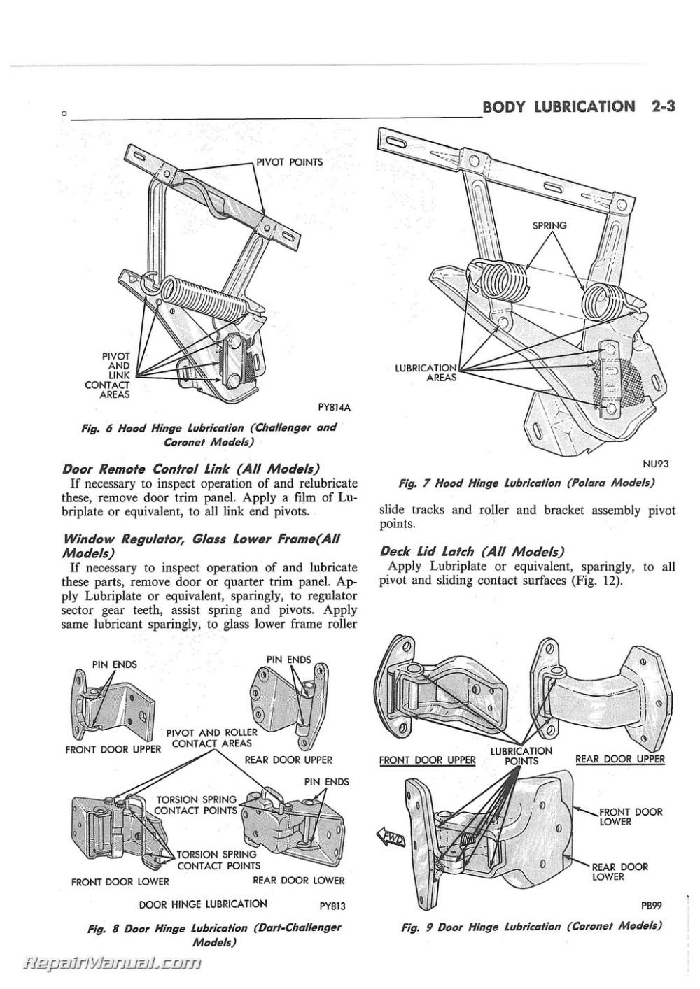 medium resolution of 1972 dodge challenger dart charger coronet polara monaco body service manual