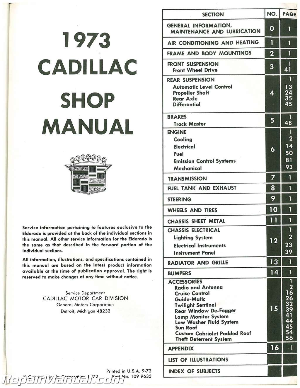 Used 1973 Cadillac Automobile Service Manual