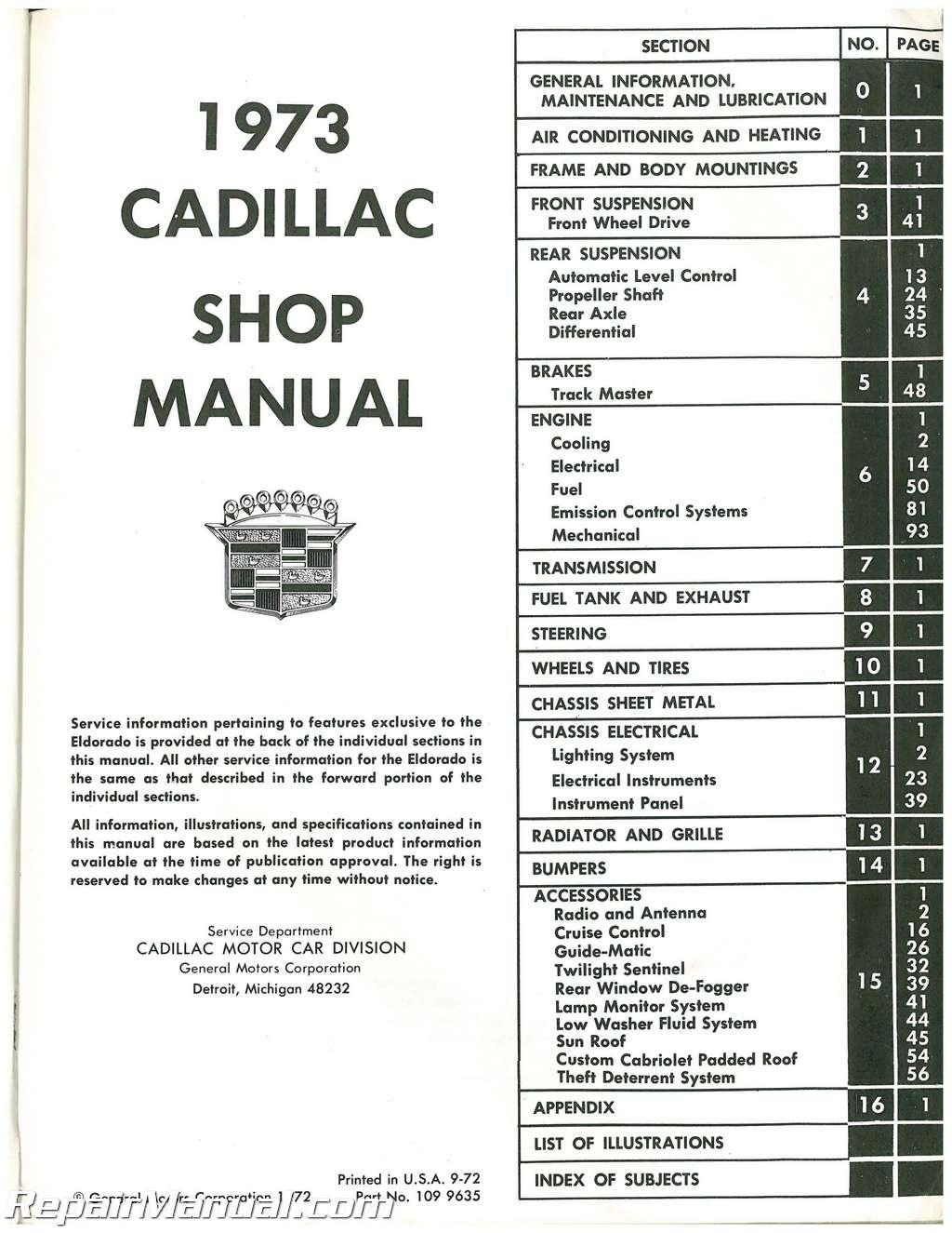Used 1973 Cadillac Automobile Service Manual