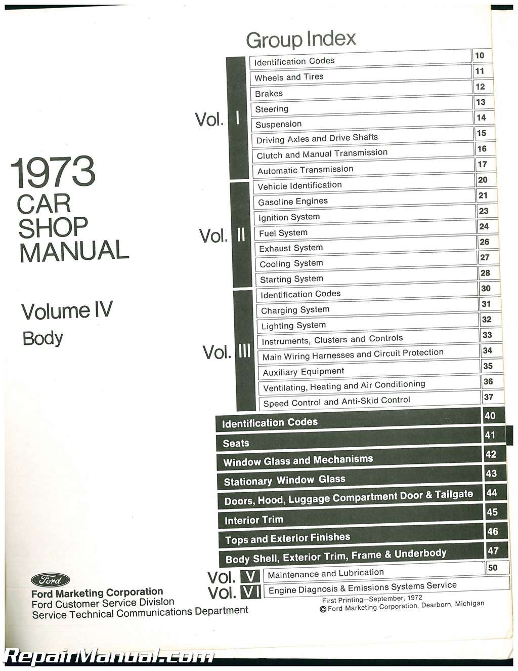 Used 1973 Ford Car Shop Manual Volume 4 Body