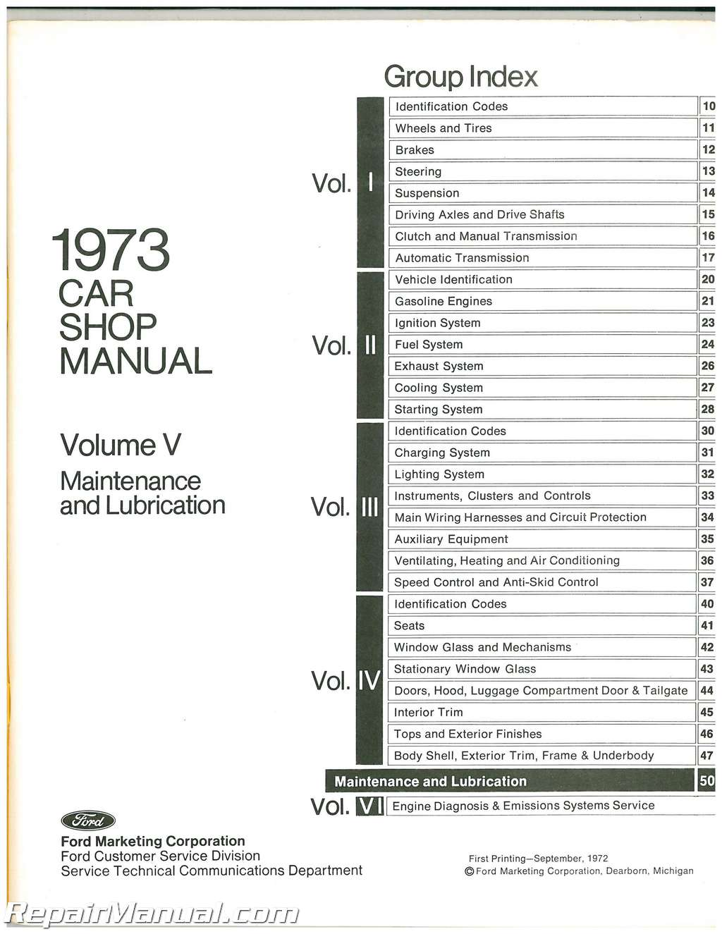 Used 1973 Ford Car Shop Manual Volume 5 Pre-Delivery